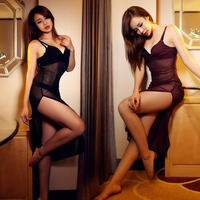 sexy lingerie split bandage sexy tight costumes women sexy sleepwear nightgown set with G-string Erotic lingerie hot sale