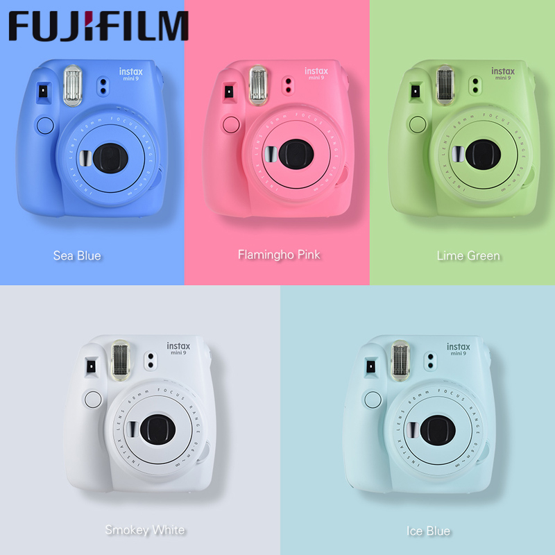 Véritable 5 couleurs Fujifilm Instax Mini 9 Appareil Argentique Instantané fuji Photo Caméra Pop-up Lentille de Dosage Automatique Mini avec Lentille Close-up
