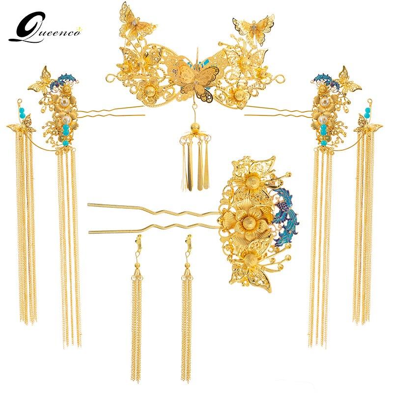 Couleur or Style chinois Vintage mariage cheveux bijoux accessoires Tasseles Phoenix cheveux ornements bijoux bandeau cheveux bâtons