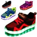 2017 nova crianças meninos meninas usb carregador levou luz shoes redes de tênis respirável casual shoes sportswear unisex led crianças shoes