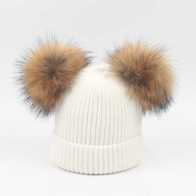 เด็กฤดูหนาวที่อบอุ่นถักหมวกหมวกผ้าพันคอหนาขนสัตว์สำหรับ 6 เมตร - 6 ปีเด็กขน pompoms หมวกผ้าพันคอชุด