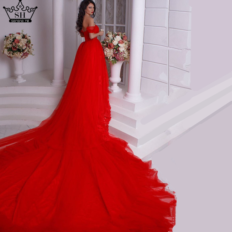 dress royal red cathedral  train Ball Gown  wedding dress 2019 New Bridal Dress vestido de noiva manga longa  Wedding Dresses