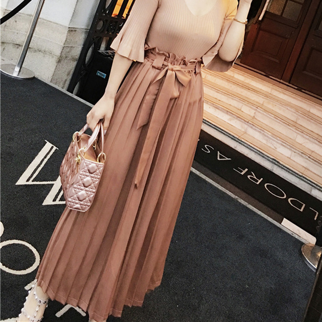 CHICEVER Summer High Waist Fold Trousers For Women 2017 Loose With Belt Chiffon Wide Leg Female Calf Length Pants New Korean