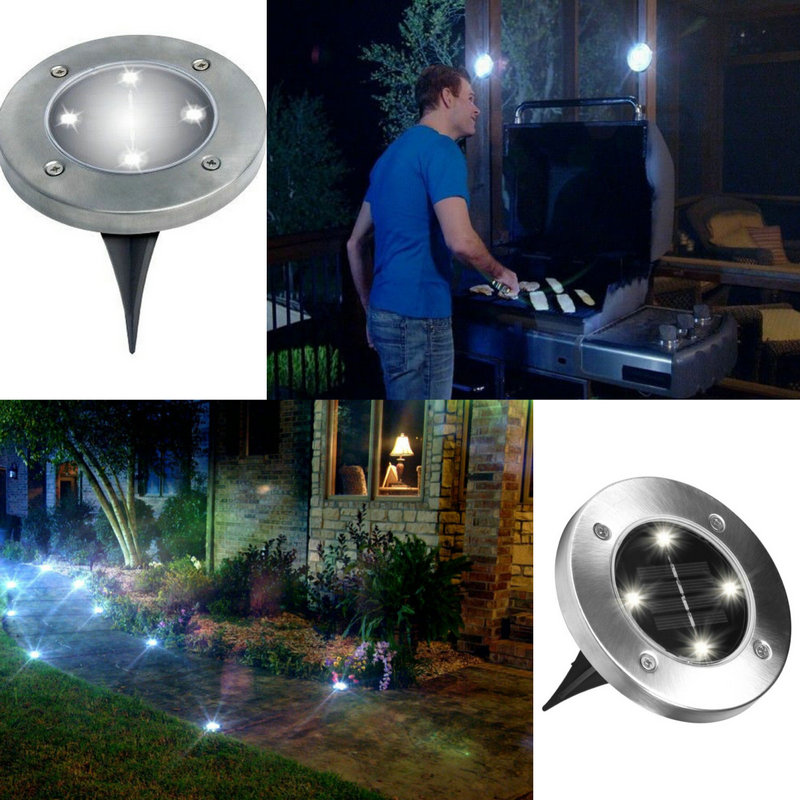 1 stück/4 stücke Solar Licht 4 LED Outdoor Boden Pathway Garten ...