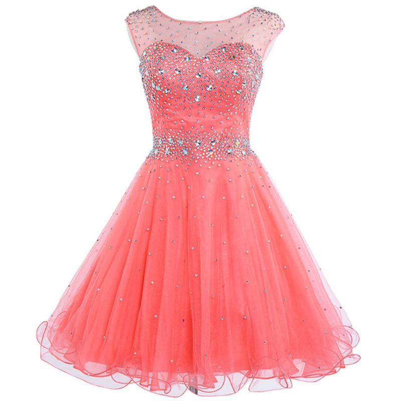 Doragrace vestidos de festa New Fashion Backless Short Tulle Crystal Beaded Cocktail Party Dresses