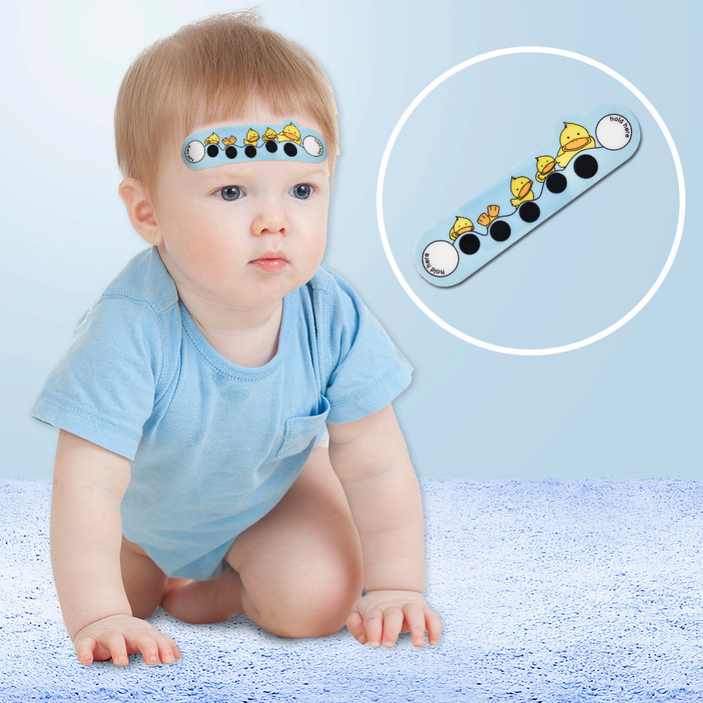 10 pcs Baby Cartoon animal Forehead Thermometers Sticker LCD Digital Strip Body Fever Kids Care Thermometer For Children