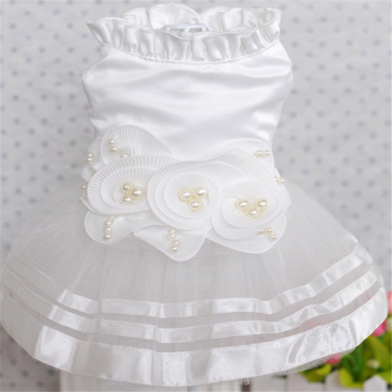 Summer Pet Dog Dress Wedding Dresses Cat Dress Skirt Puppy Clothing Spring Pet Clothes Chihuahua Yorkie Costume2