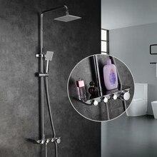 Современный простой ванная комната осадков Термостатический смеситель для душа набор хромированные смесители с ручной душевой квадратной головкой душевой набор 88321