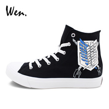 Wen Men Women Canvas Shoes Graffiti Hand Painted Sneakers Design Anime Attack on Titan Wing Logo High Top Skateboarding Shoes