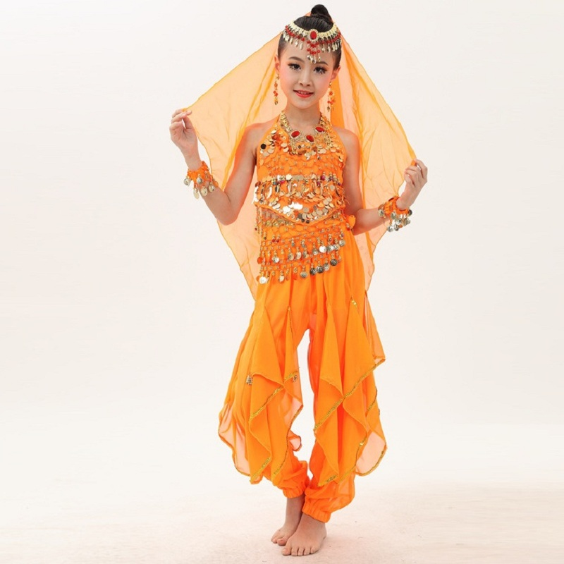 Kids Lace Dress Performance Stage Wear with Chains Princess Girls Party Dress Girls India Belly Dancing Costumes H422