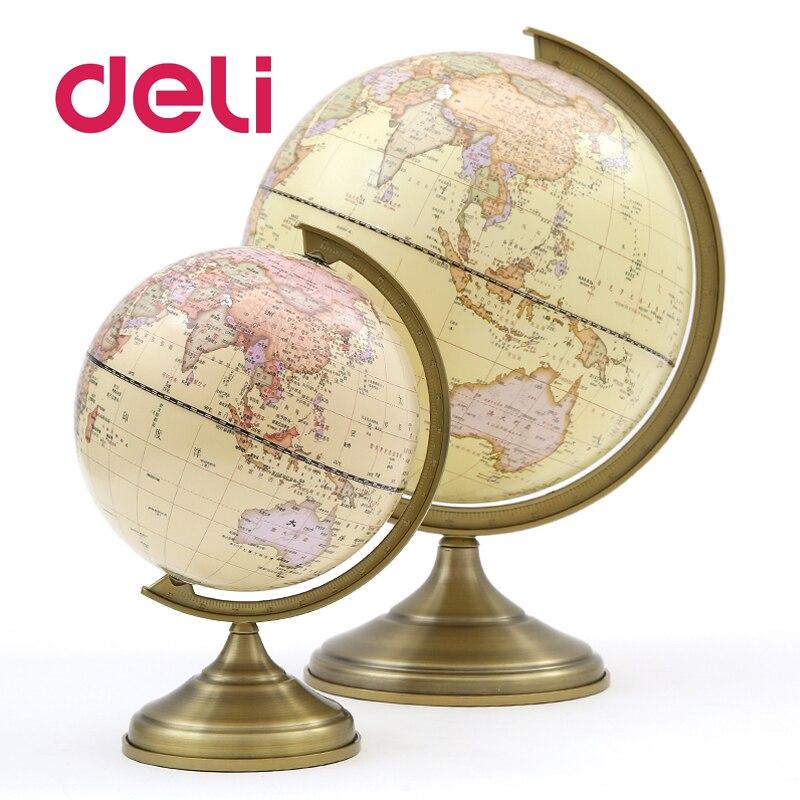 Deli стереоскопический 3d мир земля Глобус светодиодный светильник карта география образовательная металлическая подставка для дома идеальные миниатюры подарок Офисные гаджеты - 4