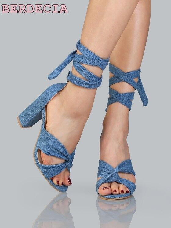 Épais up Haute À Bleu Ouvert Summer Sandales Picture Chaussures Gratuite Clair Cheville Dentelle As Femmes Bout Talon Sangle Denim Sexy Date 7nwq5O