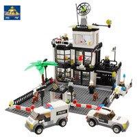 KAZI 631Pcs City Police Station Building Blocks Action Figure Baby Toys For Children Building Bricks Brinquedo