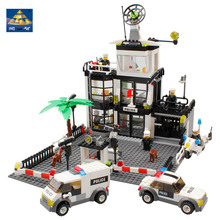 KAZI 631Pcs City Police Station Building Blocks action figure baby toys for children building bricks brinquedo