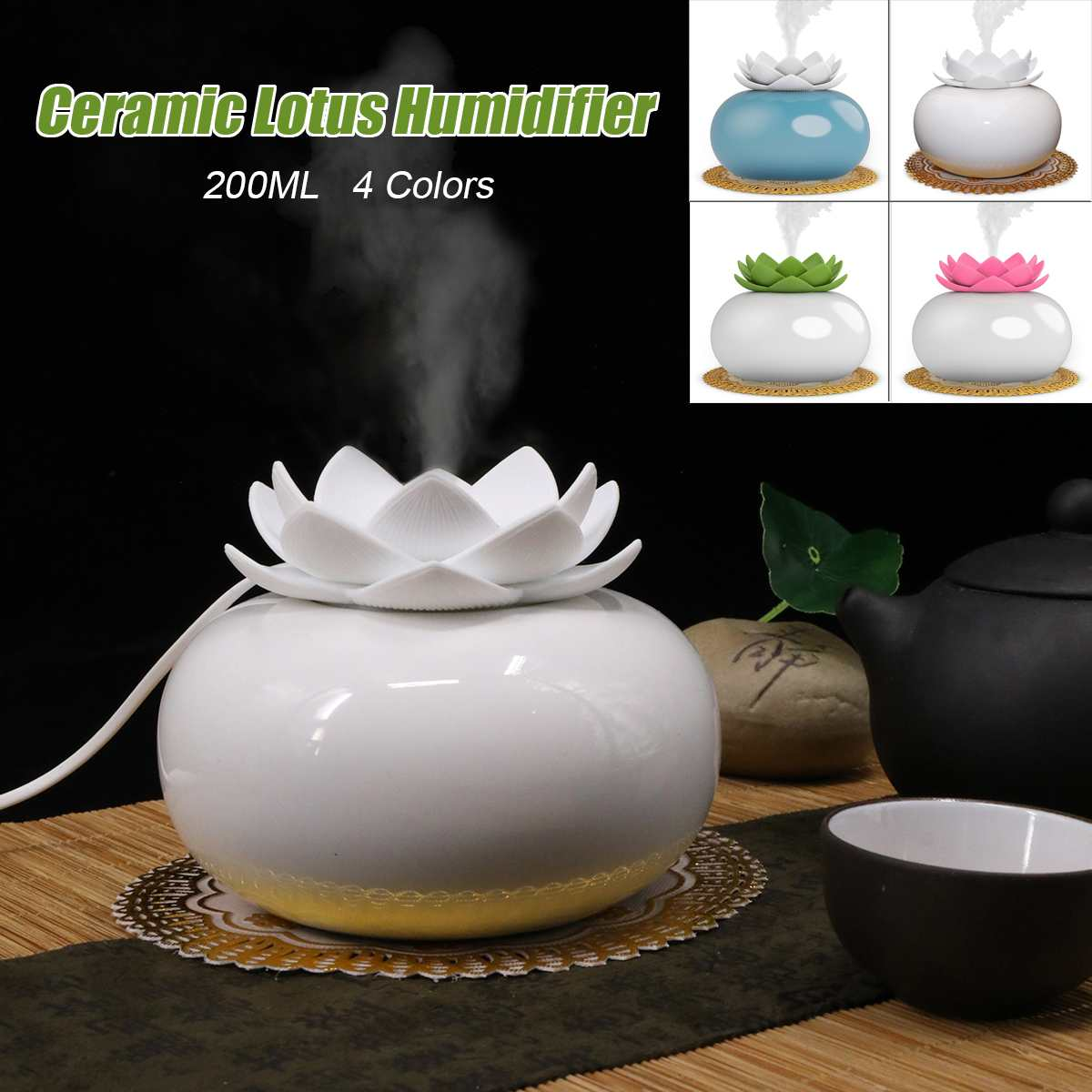 200ML Lotus Ceramic Ultrasonic Aroma Humidifier Air Diffuser Simplicity Lotus Shape Purifier Atomizer Essential Oil Diffuser