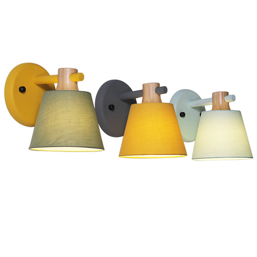 <font><b>Vintage</b></font> Loft <font><b>Wall</b></font> Lights Solid <font><b>Wood</b></font> <font><b>Wall</b></font> <font><b>Lamp</b></font> Macaroon Cloth Lampshade Led Ac110-240v Bedroom Bedside Lights Lighting Decoration image