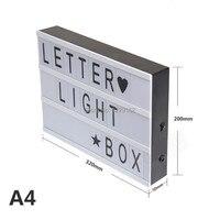 무료 배송 A4 DIY led 시네마 빛 상자 96 개 문자 포함 A4 사이즈 발광 상자 웨딩 장식 DIY 예술 홈 조명