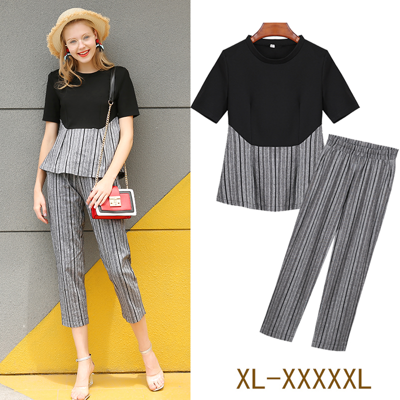 new suits summer big size loose short sleeves sweatshirt top & grey stripe trousers two-piece outfit women casual clothes L -5XL