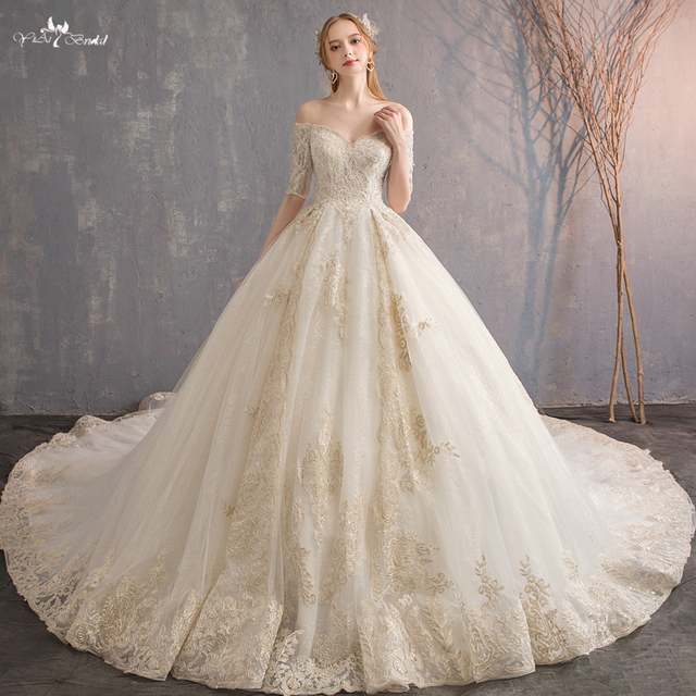 4fa707869768 RSW553 Real Photo 1M Long Train Half Sleeves Strapless Wedding Gowns Lace  Off Shoulder Wedding Dress