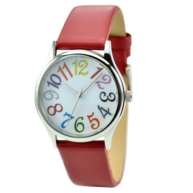 Colorful Bold Numbers Watch Red Strap Free Shipping World Wide Ladies Watch Women Watch Free Shipping