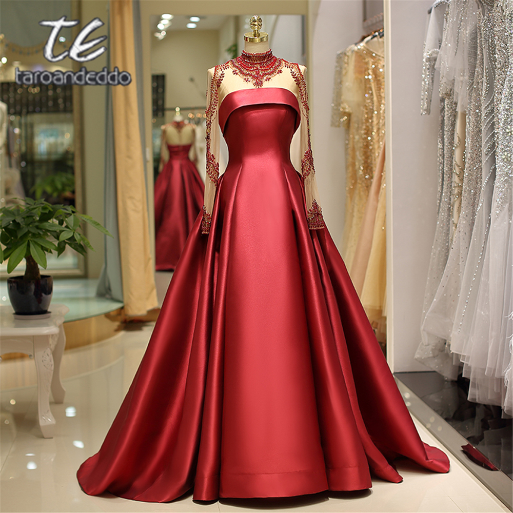 High Neck Long Beading Sleeves Burgundy Satin Prom Dresses Zipper Illusion Back Long Ball Gown Evening Formal Party Dress