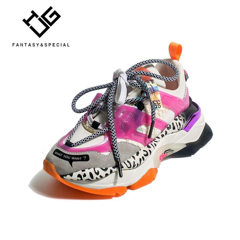 IGU Plateforme Sneakers femmes 2019 léopard en cuir véritable haute plate-forme chaussures vulcanisées baskets course en plein air papa chaussures