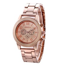 купить New Fashion Women watches Ladies Unisex Stainless Steel Watch Luxury Brand Dress Quartz Wrist Watch reloj mujer Rose gold Clock дешево