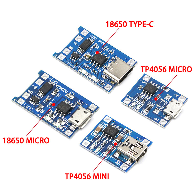 Type-c / Micro USB 5V 1A 18650 TP4056 Lithium Battery Charger Module Charging Board With Protection Dual Functions 1A Li-ion