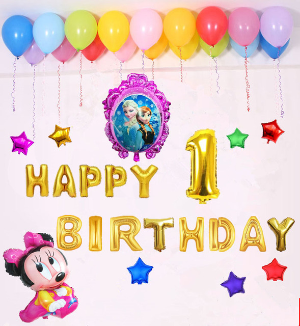 Balloons Combination Happy Birthday Balloon Modelling Baby 1 Year Party Decorations Letter