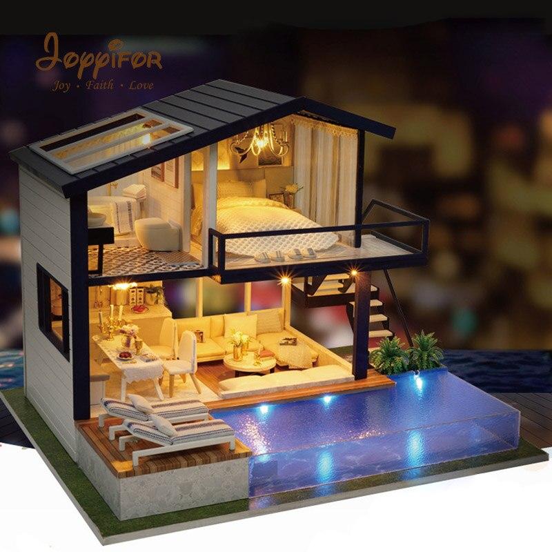 купить Joyyifor New Furniture Miniature Doll House Large Wooden 3D DIY DollHouse Furniture Kit Assemble Cover Doll Home Toys For Friend по цене 3399.2 рублей