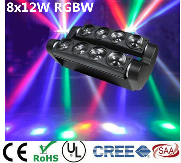 2pcs/lot new moving head light led spider 8x12w rgbw 4in1 beam light freeshipping 2xlot 16 head led moving head spider light endless rotation 16x25 high power rgbw 4in1 beam full color lcd display