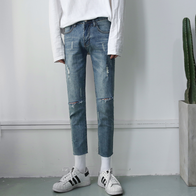 The New listing Pattern Wash Wear Man Jeans Bound Feet Pants Nine Part Fashion Favourite Free shipping casual wild 2018