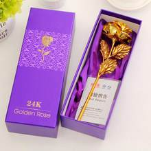 Valentine Day Gifts 24k Gold Foil Rose Flower Handcrafted Handmade Dipped Long Stem Lovers Wedding For Lovers Gift(China)