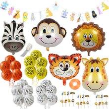 Safari Parti Dekor Bebek Duş Balon Safari Balonlar Set Folyo Hayvan Balonlar Orman/Helyum Doğum Günü Hayvan Afiş/Kek Toppers