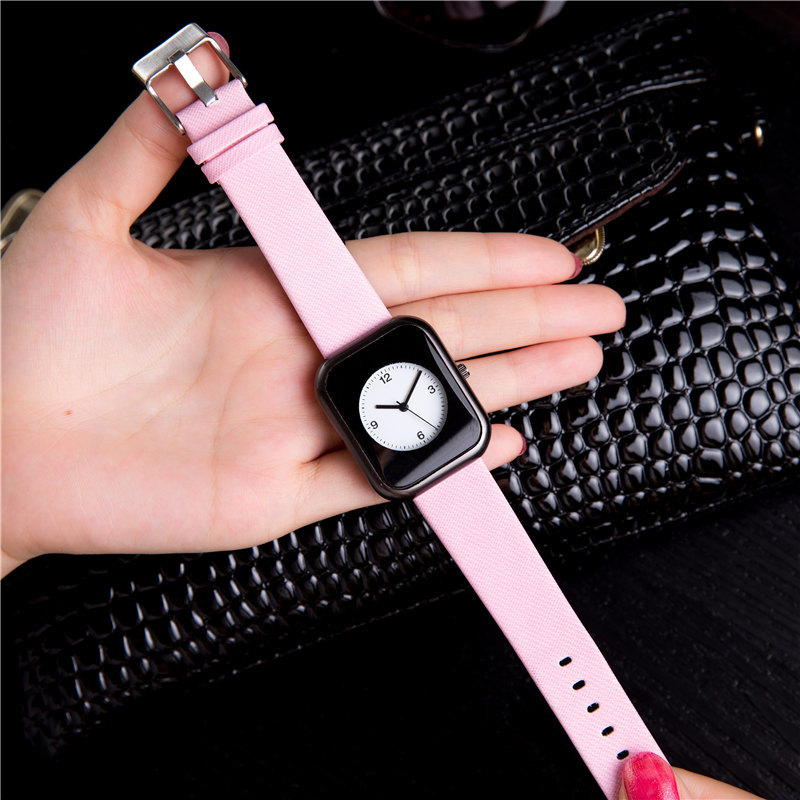 Luxury rectangle dial Leather band women Wristwatch New Fashion Analog ladies Quartz Watch female Casual Watch Simple Dress hour simple fashion hand made wooden design wristwatch 2 colors rectangle dial genuine leather band casual men women watch best gift