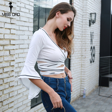 Missord 2018 Sexy V Neck  Long Sleeve Solid Color Short Style Personalized Top FT8687