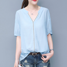 Womens Summer Fashion Casual blouses 2019 New V-neck Women top Half sleeve Blouses shirt spring pink office cotton 898E3