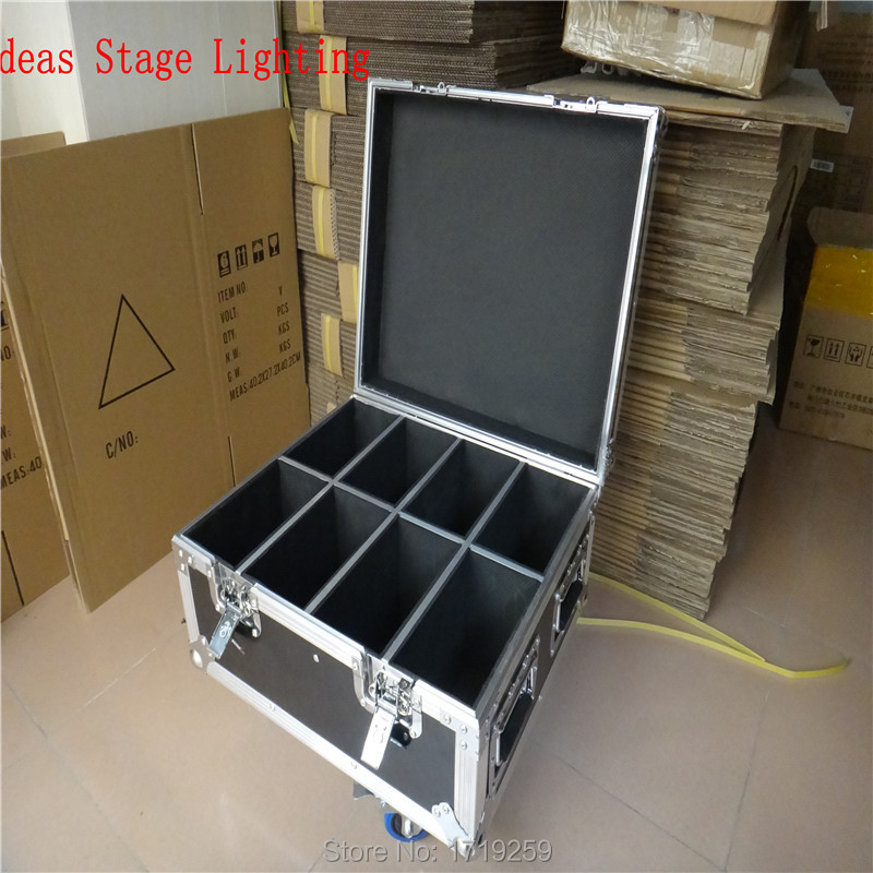 Flight Case with 8pieces Wireless Remote Control 7 Channels Led Flat Par Light 9X10+30W RGB 3IN1 with 8 piecs DMX Cables flight case with 8 pieces 18x3w rgb led