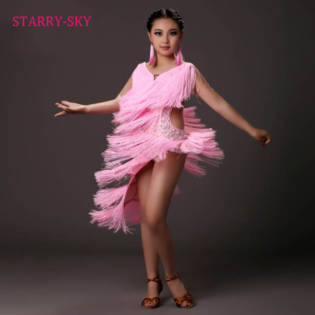 18ed437ad12f Online Shop Latin Dance Dress Kid Fringe Dresses Child Girl Latino ...
