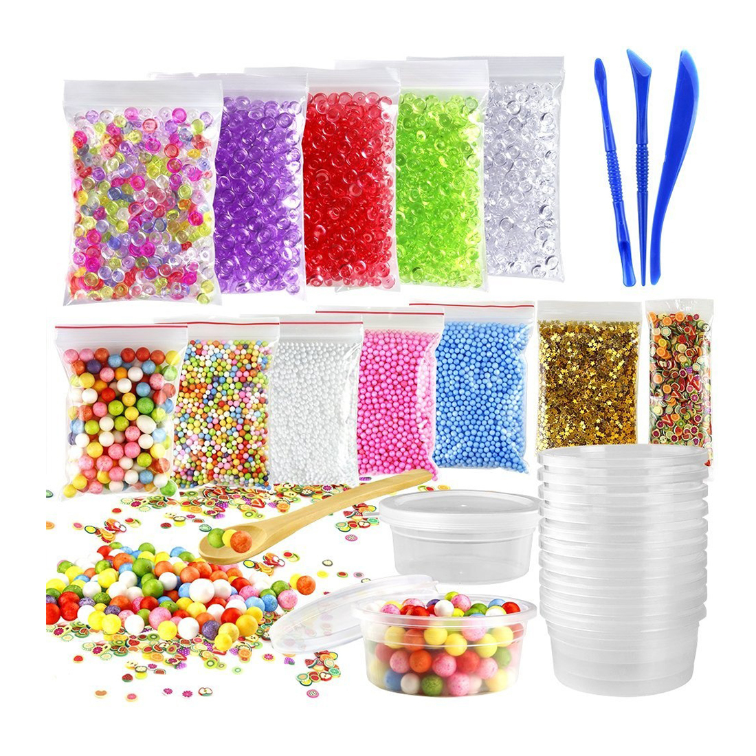 Top 15 Pack Including Fishbowl Beads, Foam Balls, Foam Ball Storage Containers, Confetti, Fruit Slices for Slime Making A