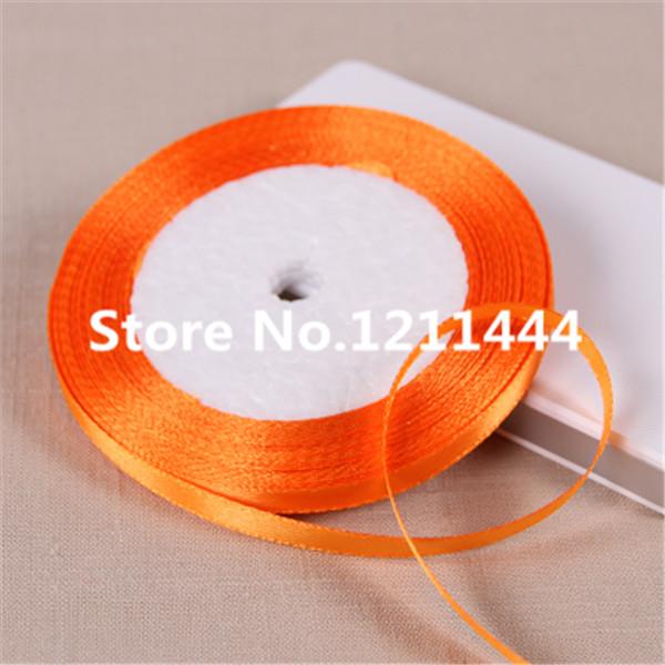 151# 6mm Wide 50Yards/lot Bright Orange Satin Ribbon for Christams Gifts/ Wedding Place /Birthday festival party decoration