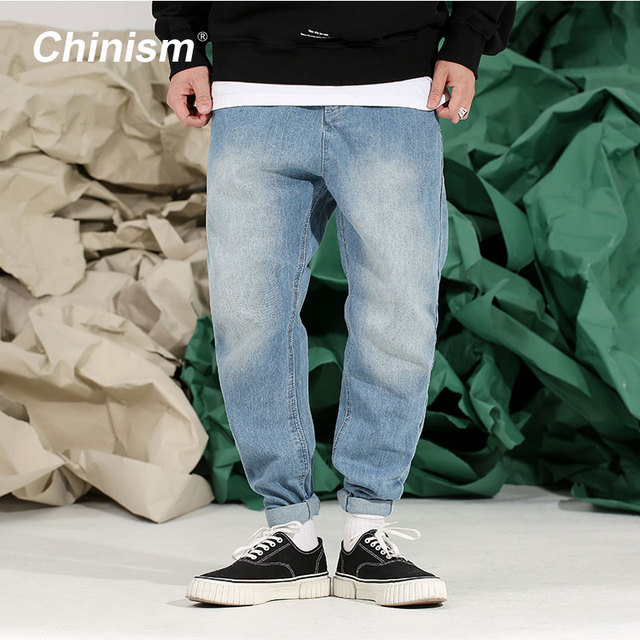 CHINISM 2018 Spring Basic Denim Jeans Mens Loose Pencil Pants Long Trousers Jeans