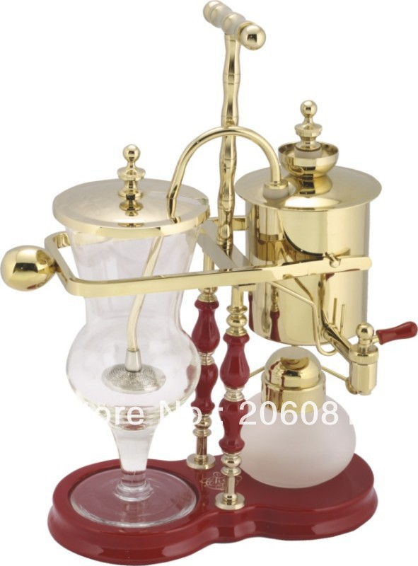 Luxury Champagne Gold Belgian royal coffee maker/syphon vacuum coffee pot /Tea pot with top quality ,perfect chrsitmas gift snowflakes pattern coffee tea 6 in 1 cup pot set brown