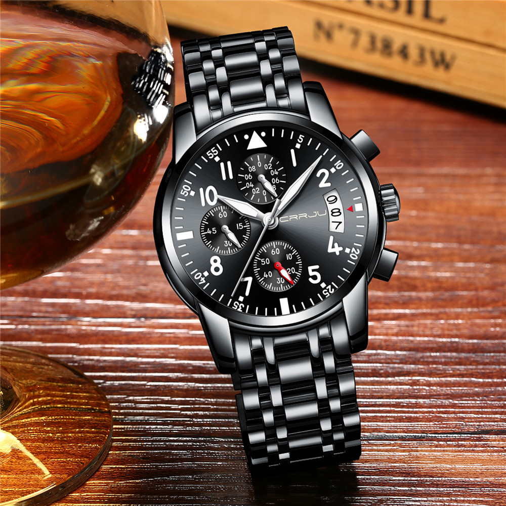 f12cfc058f1 CRRJU Sport Watch Men Stainless Steel Band Quartz Military Casual Watches  Men s Chronograph Calendar Wristwatch Waterproof Clock-in Quartz Watches  from ...