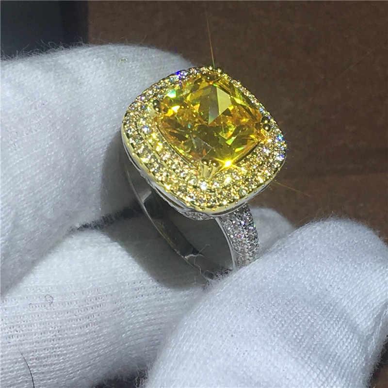 Choucong แฟชั่นตัด 5A แหวนคริสตัลสีขาวทองคำขาวแหวนหมั้นแหวน Bijoux