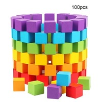 100pcs Colorful Cube Building Wooden Block Baby Geometric Shape Educational Toys Square Cubes Blocks toy