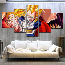 5 piezas HD lienzo impreso pintura Dragon Ball Goku vs Vegeta Super DBZ póster impresiones arte de pared decoración moderna del hogar(China)