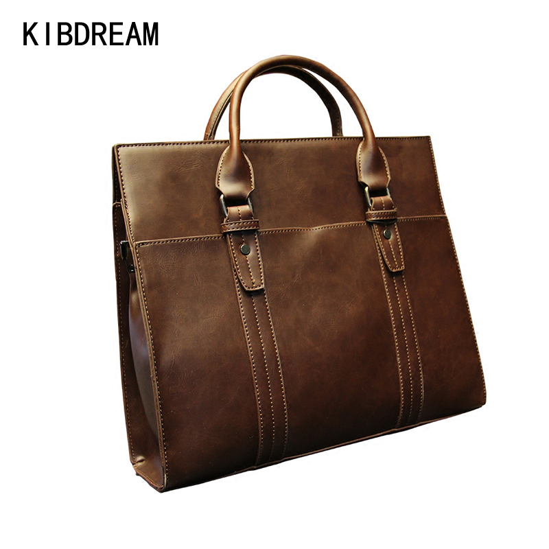 The bags  shoe Store KIBDREAM New Fashion Brown Business Portable Hight Quality Message Commercial Briefcase Laptop Bag Leather Men Bag