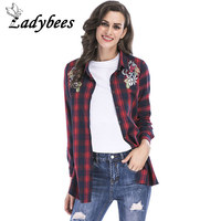 LADYBEES Plus Size 5XL Shirts Women Red Plaid Blouse Long Sleeve Open Stitch Casual Floral Embroidery