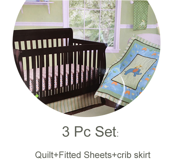 3 Pc Crib Infant Room Kids Baby Bedroom Set Nursery Bedding Cot Newborn Baby Bedding for boy and girl